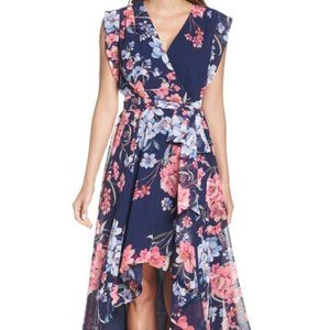 NEW Eliza J Floral High/Low Faux Wrap Chiffon Dres